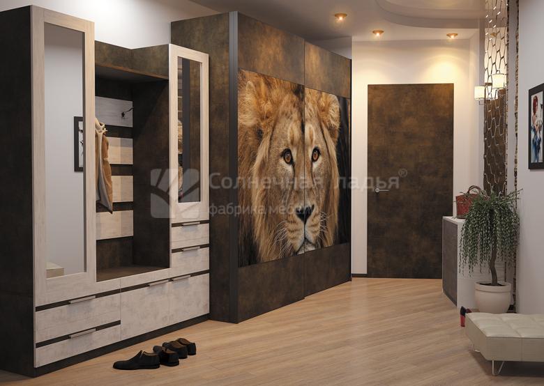 шкаф купе в прихожую с фотопечатью львица купить в москве фабрика