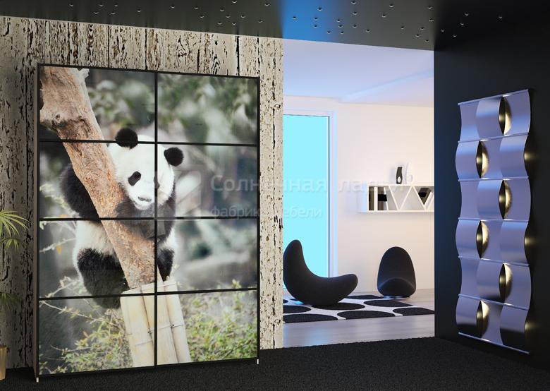 двухдверный шкаф купе в прихожую с фотопечатью панда купить в